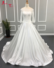 Jark Tozr 2017 New Design Boat Neck Long Sleeve Gorgeous A-line Wedding Gowns Vestidos Largos Lace France Satin Bridal Dresses