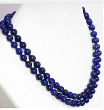 10mm Natural Egyptian blue lapis lazuli chalcedony Gems Beads Necklace wedding Women Gift word 925 silver Round