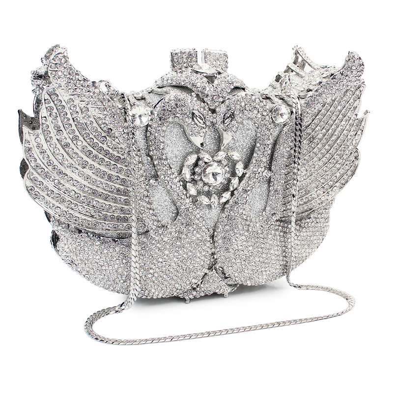 sliver color animal shape swan  clutch party crystal evening  bag (88141A-S)sliver color animal shape swan  clutch party crystal evening  bag (88141A-S)