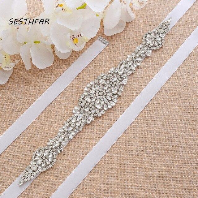 Cinto de strass Cinto de Cristal Nupcial Sash Cinto Para Vestido de Noiva da Festa de Casamento Sash artesanal de Diamantes Delt JY23FS Em Estoque