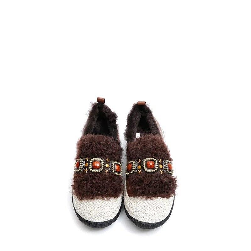 Genuino Basse Femminile Nero brown Di Mucca Cuoio Sesso Inverno Ragazza 2018 Il Scarpe Zapatos Mujer Più Della Del Piatto Lane Igu Donna Mocassini Lana Pknw0O