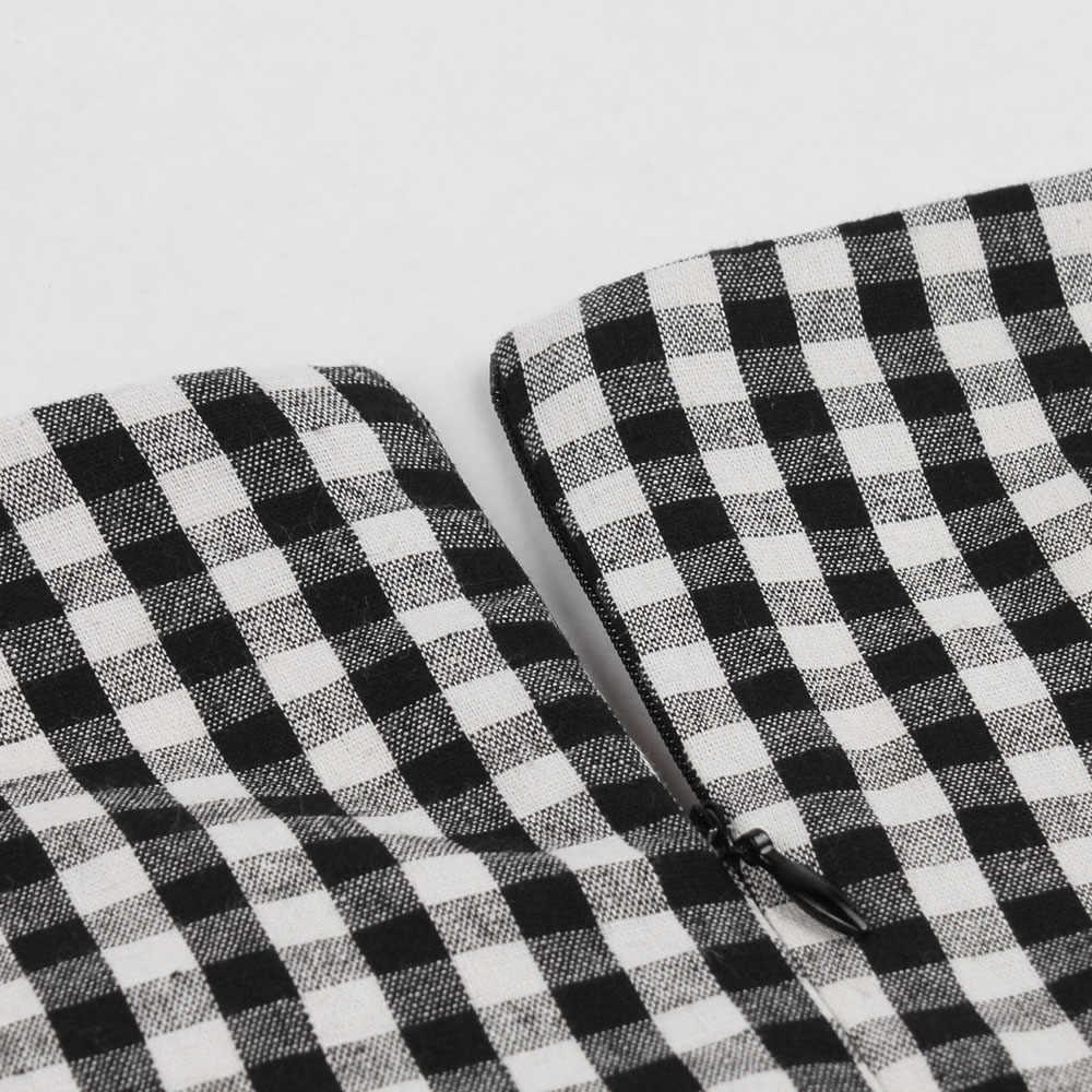 Женское платье 50 s 60 s винтажное летнее хлопковое клетчатое платье в клетку с принтом Корсет без рукавов Ретро вечерние платья рокабилли Vestidos De Festa