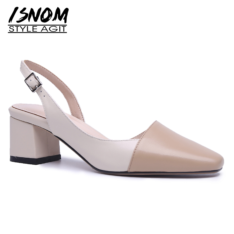 ISNOM Genuine Leather Sandals Square Toe Footwear High Heels Women Sandals Shoes Fashion Office Female Shoes
