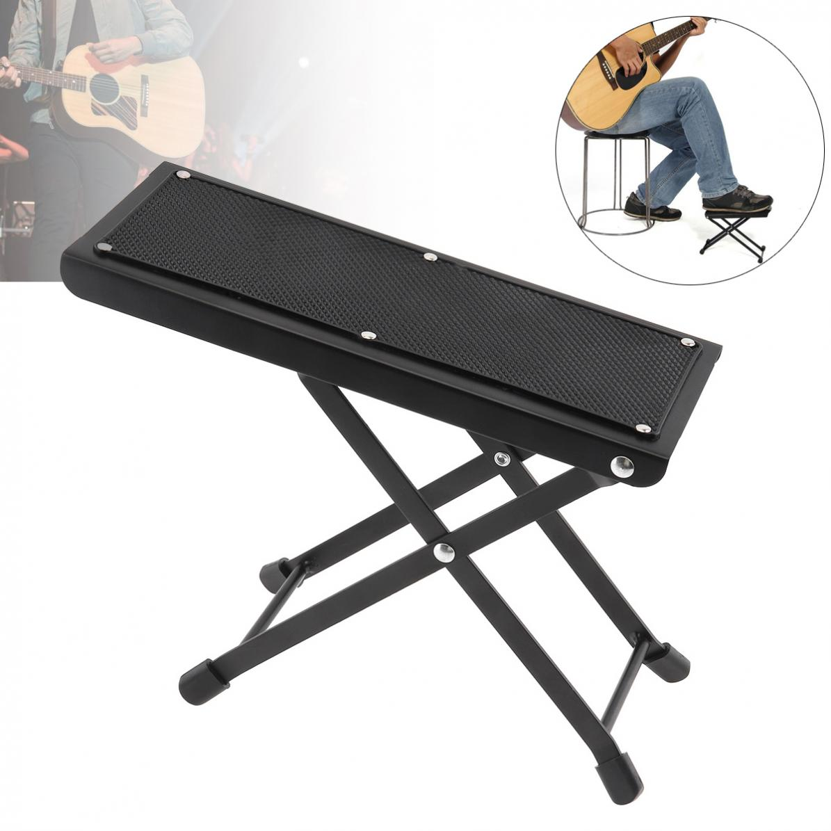 Metal Folding Guitar Footstool Rest Anti-Slip Stand Height Adjustable Foot Rest Stand Footboard for Musical Instrument