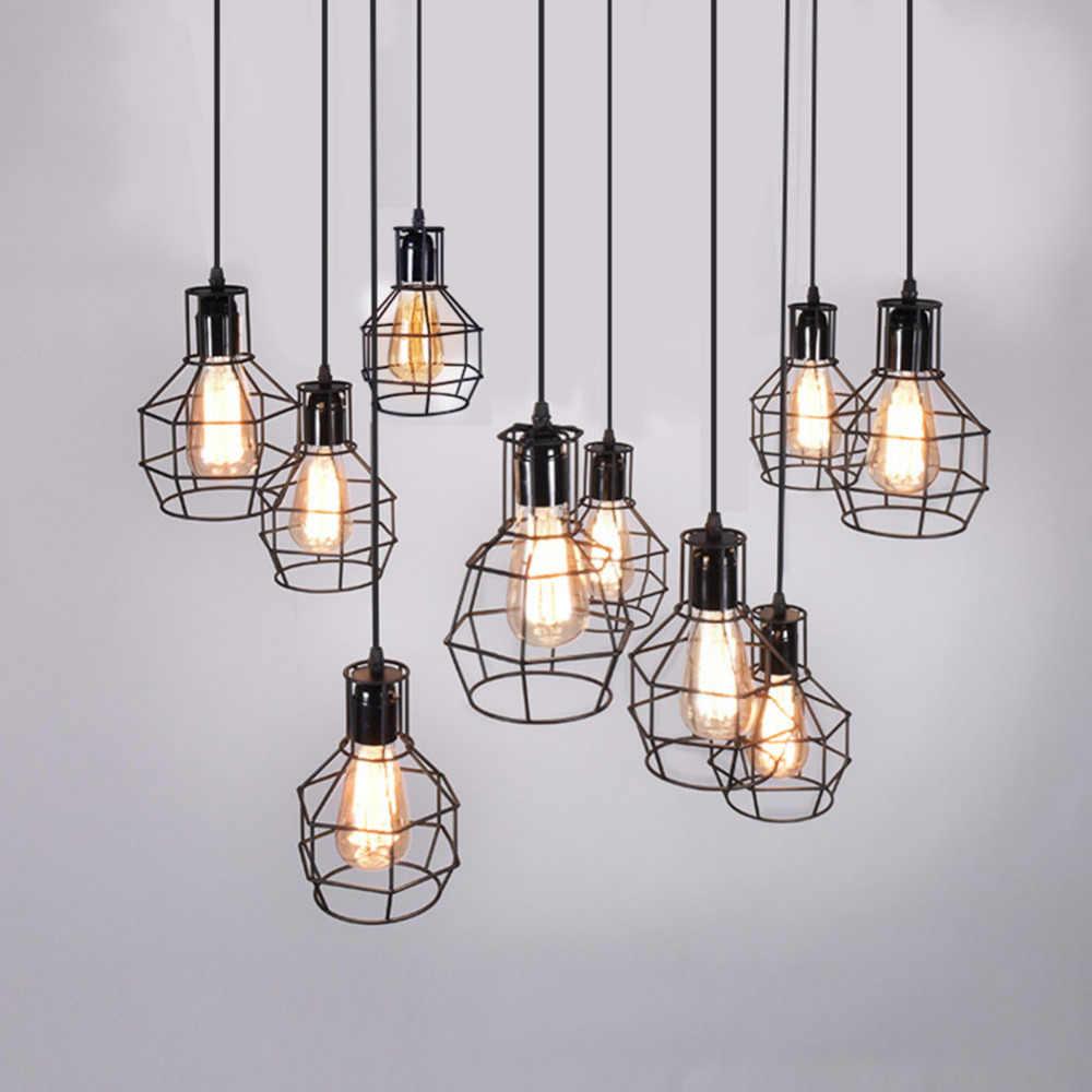 Modern Pendant Light Black Iron Hanging Cage Vintage Retro Led Lamp Bulb E27 Dining Room Restaurant Bar Counter Industrial Loft