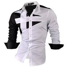 قميص رجالي من جنسين فستان غير رسمي أنيق بأكمام طويلة بأزرار وزر ضيق 8397 أبيض