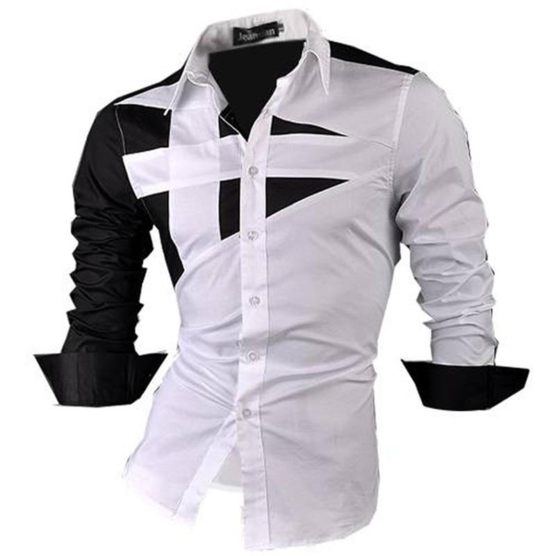 Jeansian Men's Dress Shirts Casual Stylish Long Sleeve Designer Button Down Slim Fit 8397 White