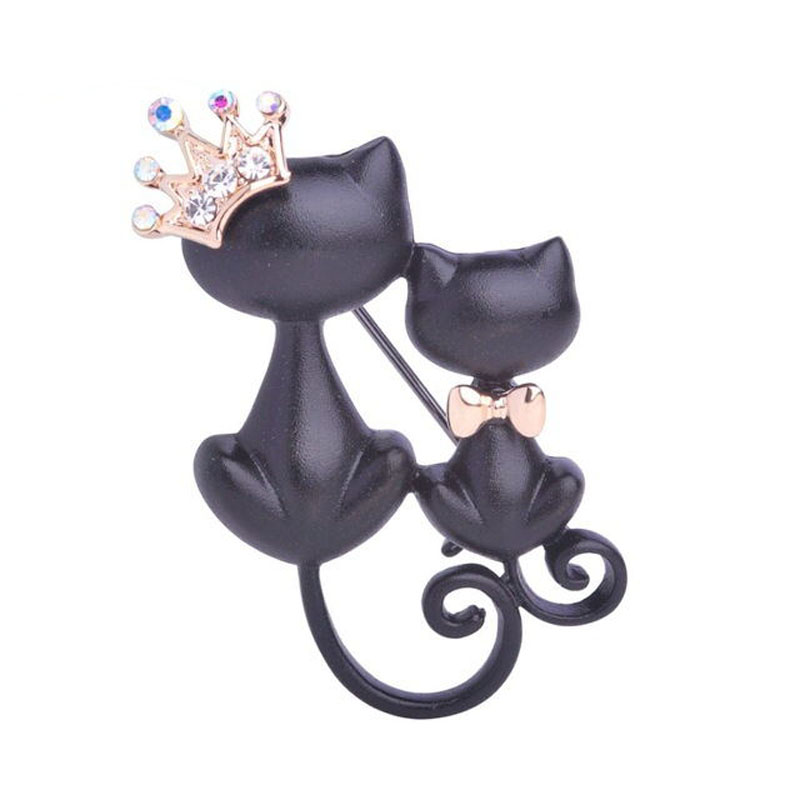 Smooth Black Mother Daughter Cats Brooches Crystal Crown Queen Corsages Hijab Pin Women Hats Scarf Suit Brooch Clothes Buckles.