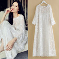 Advanced slopwork high quality silk embroidery nightgown long-sleeve spaghetti strap twinset sleepwear full dress
