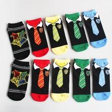 Летние модные женские туфли Обувь для девочек Носки для девочек Гарри Поттер галстук печати Вязание Подследники для женщин Для мужчин Носки для девочек