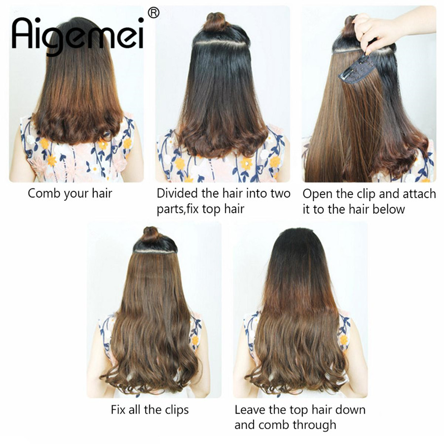 Aigemei Synthetic Hair Extensions Clip In Hair Extensions Full Head