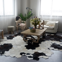 Irregular shaped diamond plaid cowhide fur handmade patchwork rug big size unique black and white fur decoration office carpet