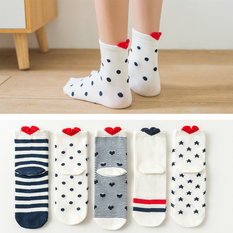 5Pairs New Arrivl Women Cotton Socks White Red Heart Socks Short Socks Casual Animal Ear Red Heart Gril In Tube Socks 35-40