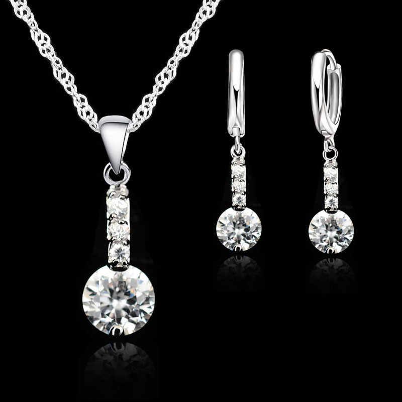 אלגנטי 925 כסף קריסטל שרשרת תליון עגילי סטי בסדר כלה חתונת תכשיטי סטי מתנה הטובה ביותר עבור נשים