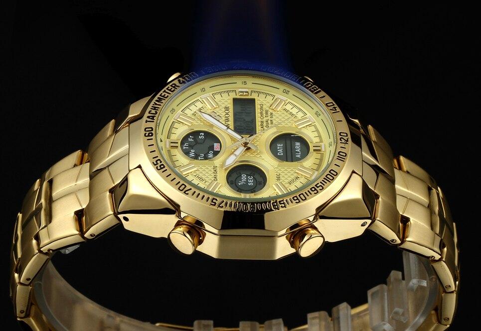 masculino led grande dial relógios de aço