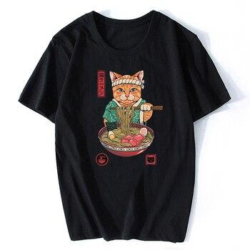 Neko Ramen Japan Cat Anime T Shirt Men's High Quality Aesthetic Cotton Cool Vintage T-shirt Harajuku Streetwear Camisetas Hombre