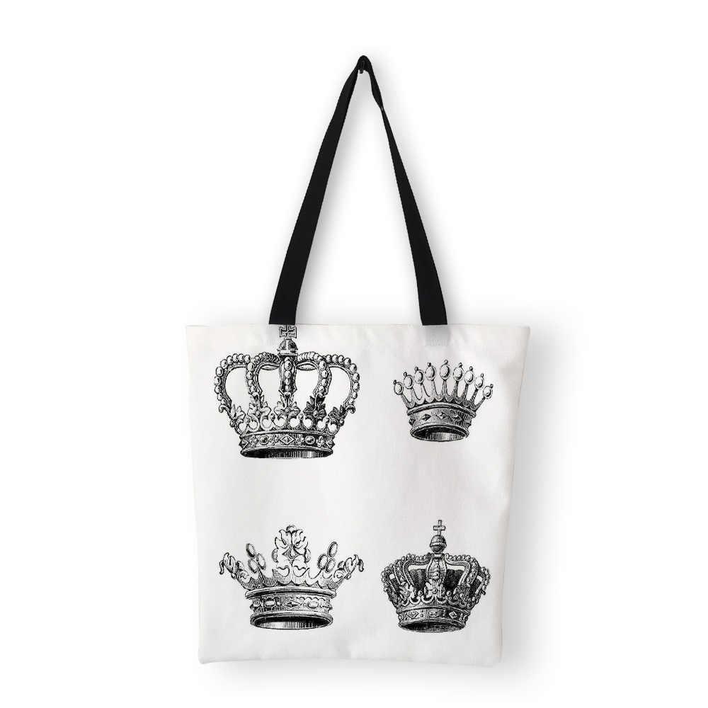 Bolsas de mano para mujer con estampado de corona creativa personalizada 2019 bolsas de lona de gran capacidad