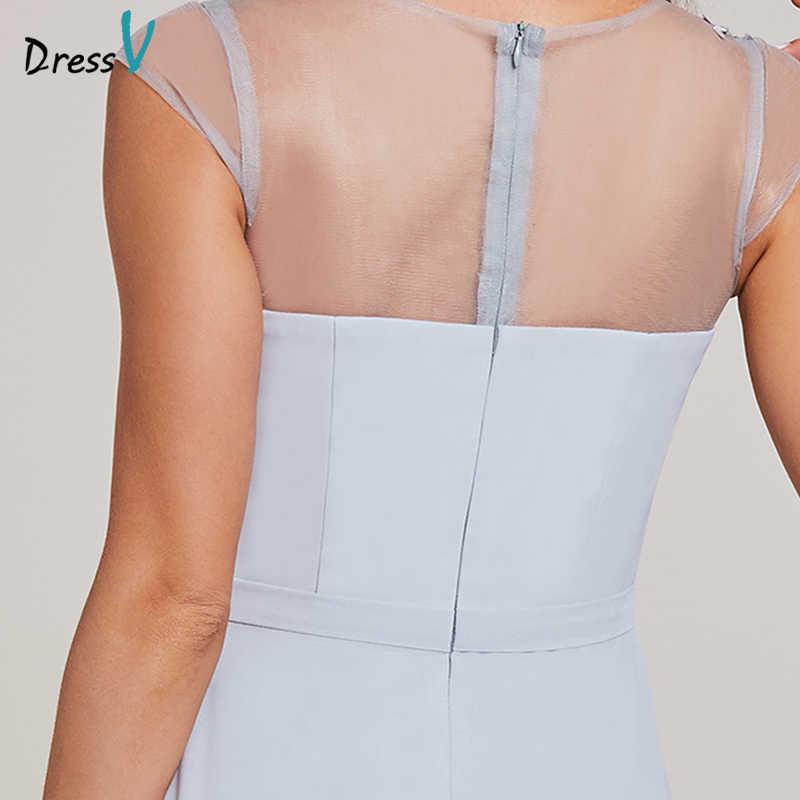 Dressv appliques una linea vestito da sera silver bow manicotti della protezione di lunghezza del pavimento dell'abito delle donne di cerimonia nuziale convenzionale del partito abiti da sera lunghi