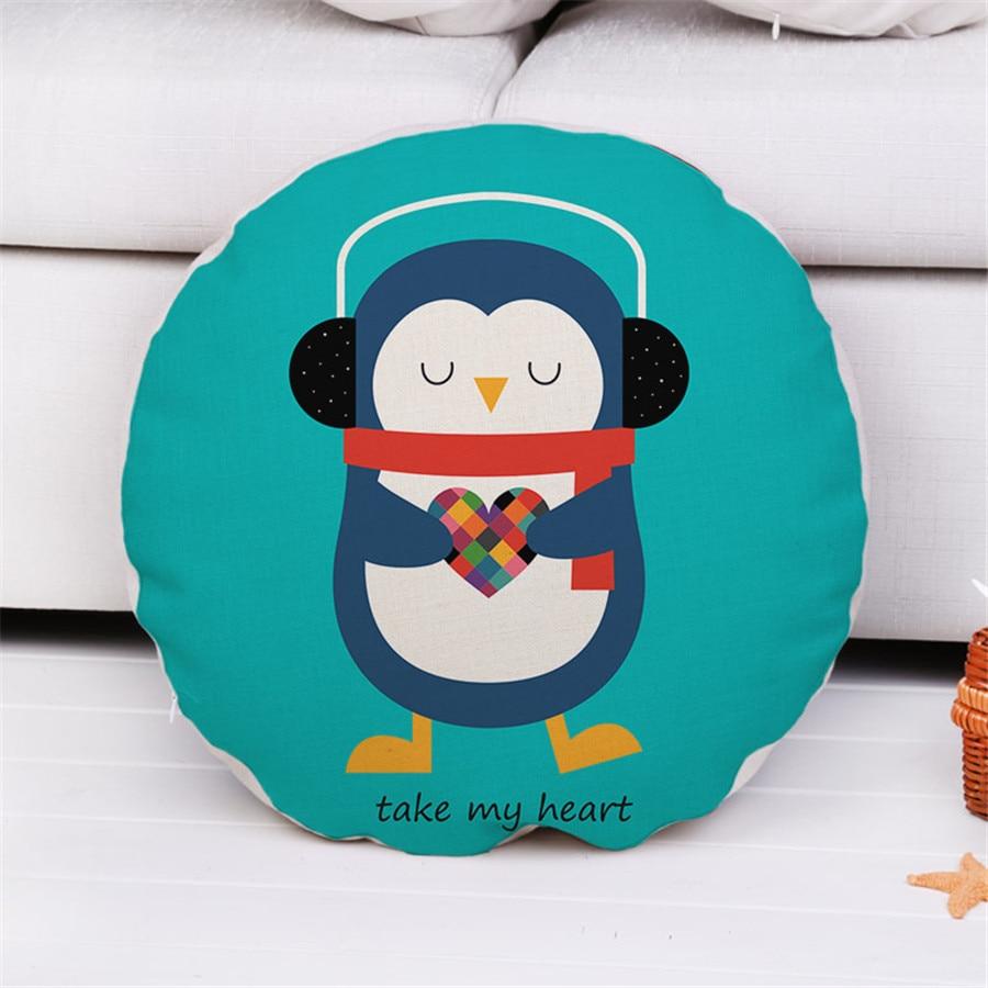 Decorative Round Throw pillow case 45cm animals cartoon cute lovely cotton linen cushion cover for sofa home capa de almofadas