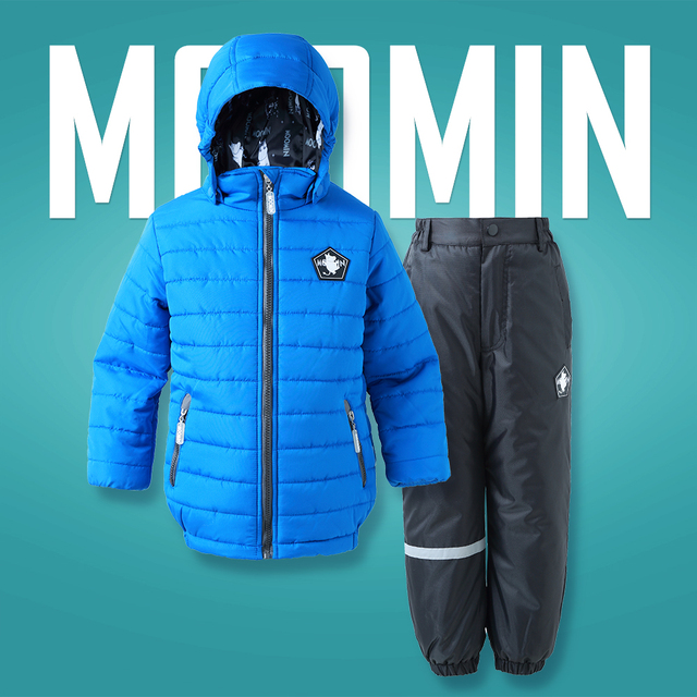 Winter Boys clothes set 2017 new Active Moomin children sport ski suit Turn-down Collar Down & Parkas Zipper pink boys outwear