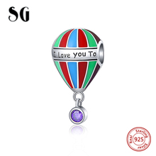 SG recommend Silver 925 balloon charms with colorful stripe enamel Beads Fit Original pandora Bracelet diy Jewelry making Gifts