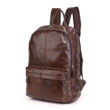 "Large Capacity Coffee Color Real Skin Genuine leather Men Backpacks Cowhide 15.6"" Laptop Man Travel Bags #M7273"
