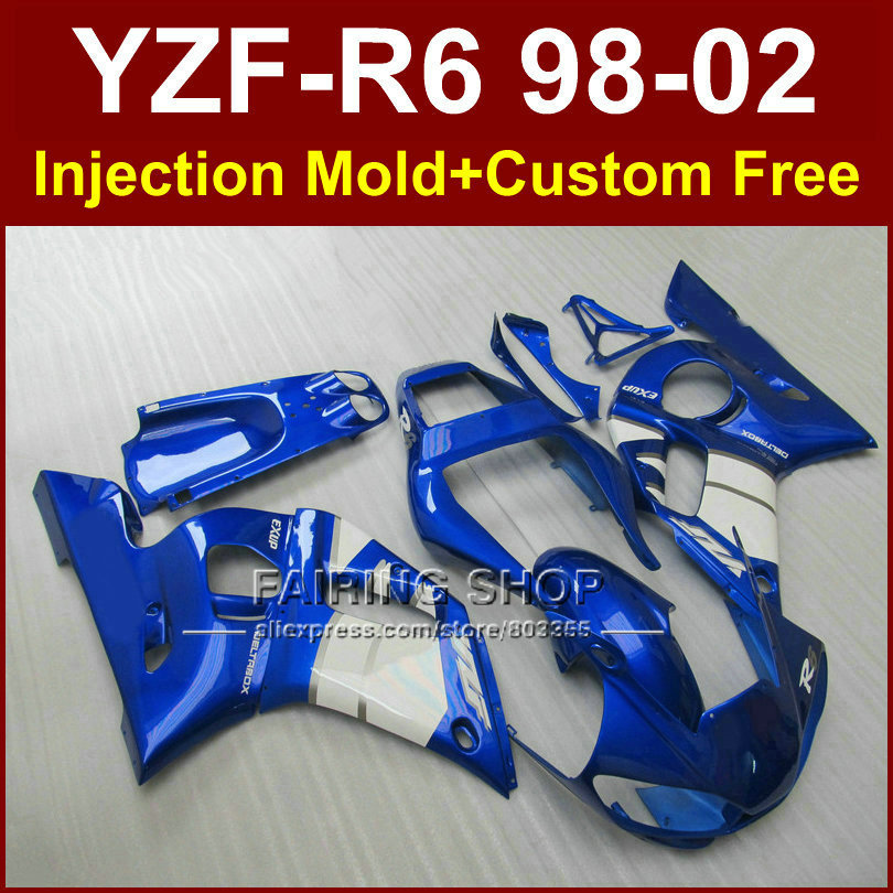 FRGE EXUP fairings for YAMAHA YZF R6 1998 1999 2000 2001 2002 fairings kit YZF R6 98-02 blue custom fairing F67O Injecion ABS