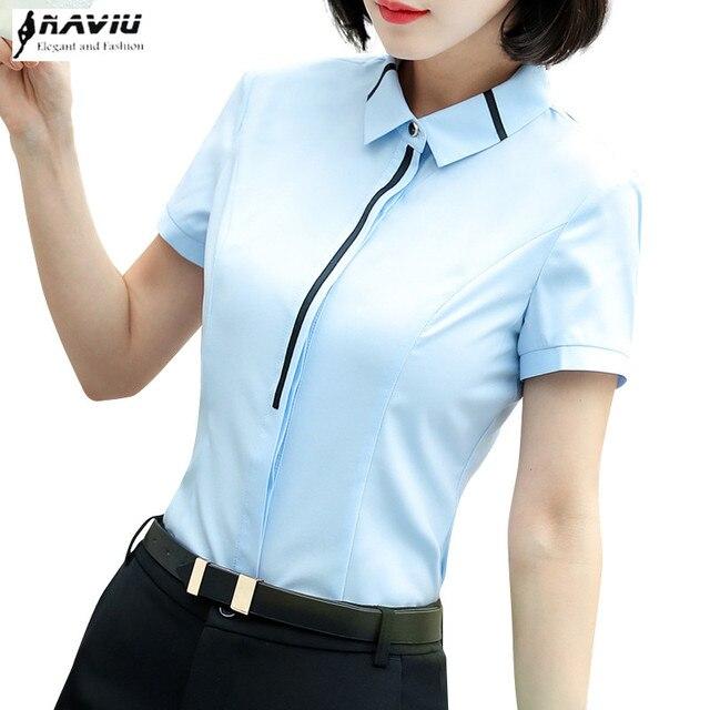 848c19b9fe432 2018 Elegant women shirt New OL formal summer short sleeve slim blouses  office ladies work wear plus size tops light blue white