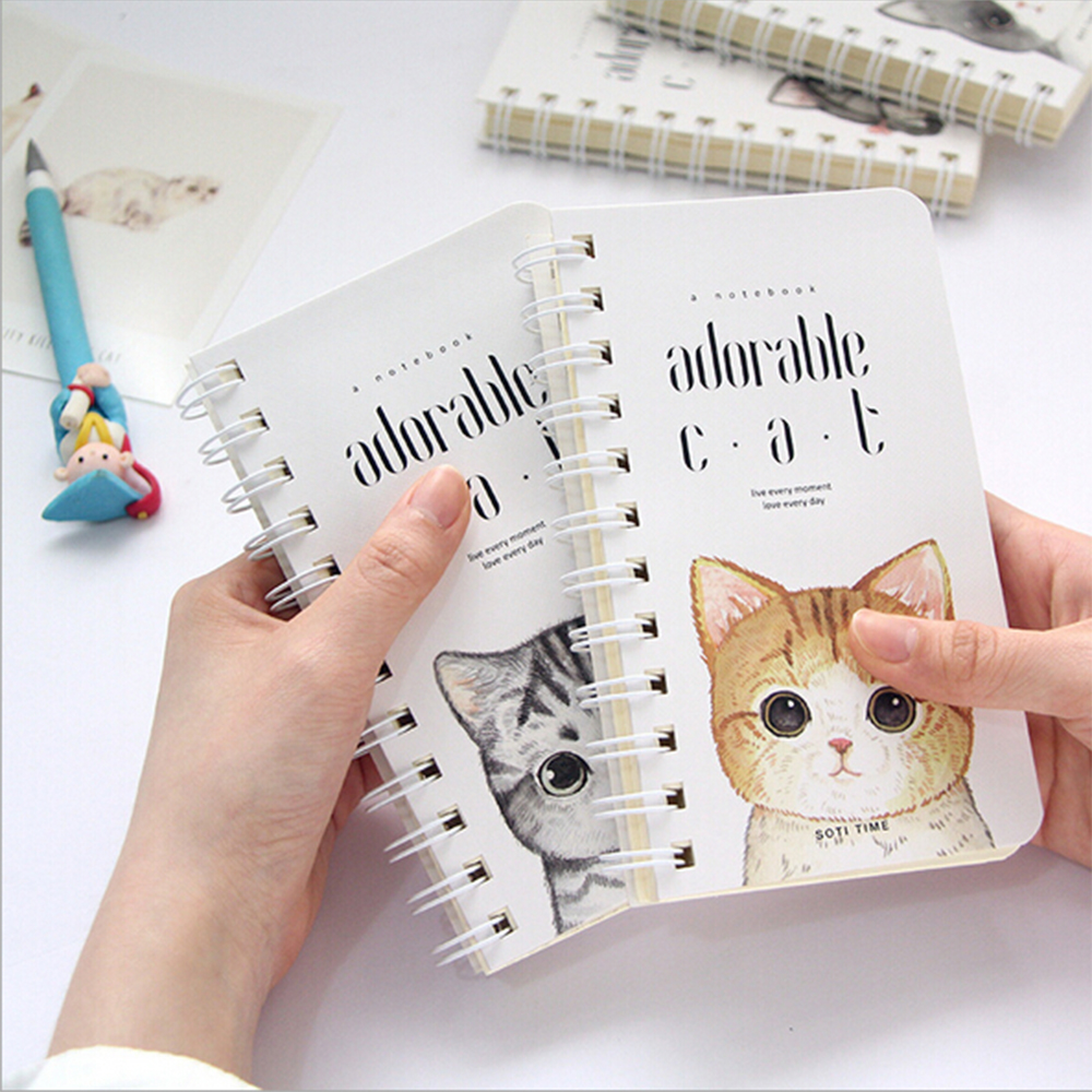 Cute Cat Portable Mini Coil Notebook Office School Stationery Daily Memos Travellers Diario Noting Pocket Planner OrganizerCute Cat Portable Mini Coil Notebook Office School Stationery Daily Memos Travellers Diario Noting Pocket Planner Organizer