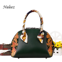 Nuleez genuine cowhide big bag women China national style hand carved flowers and leaves high quality tote bag 2018