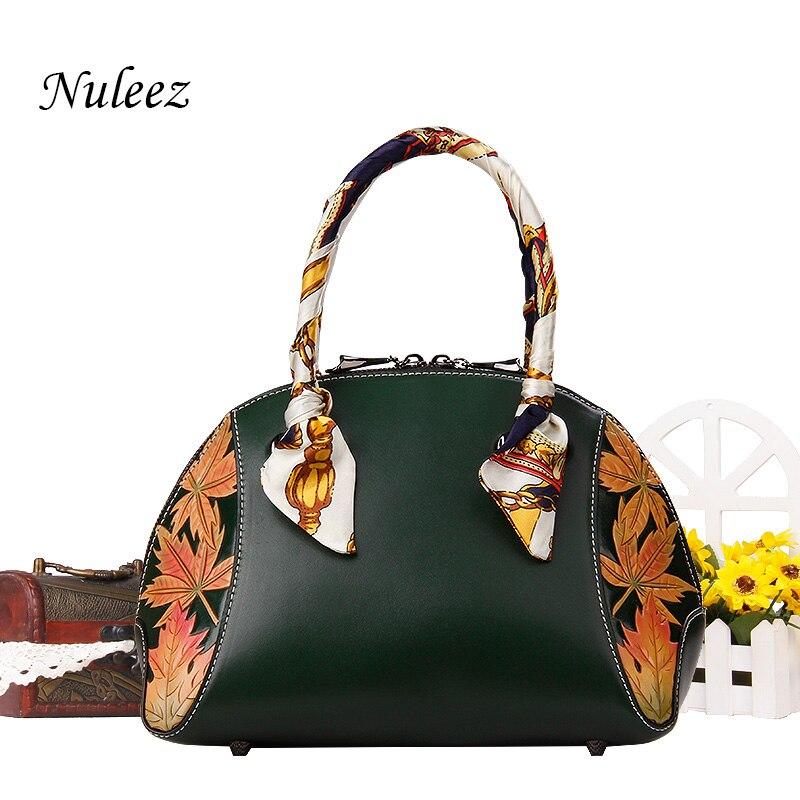 Nuleez véritable peau de vache grand sac femmes chine style national fleurs et feuilles sculptées à la main de haute qualité fourre-tout 2018