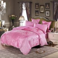 Pink flowers jacquard Princess Style bedding set 4pcs Lace Ruffles duvet cover bedspread bed sheet bedclothes king queen size