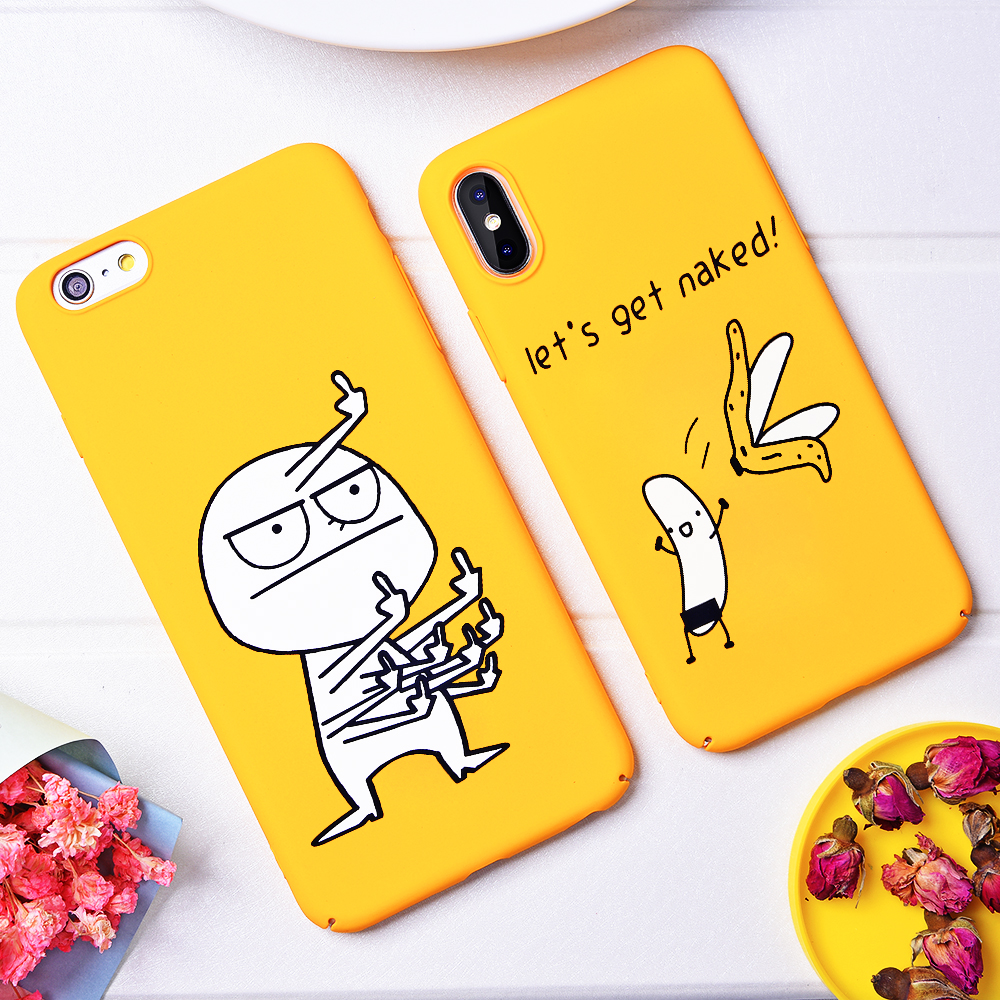 quite nice 37611 14e59 Funny Cartoon Naked Banana Case Cute Patterned Back Cover For Iphone Yellow  Capa