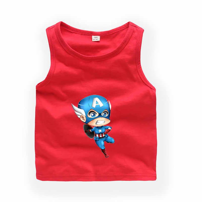 2 T-9 T dzieci kreskówki kapitan ameryka bez rękawów T shirt dla dzieci chłopcy/dziewczyny słodkie letnie topy dla dzieci odzież codzienna b25