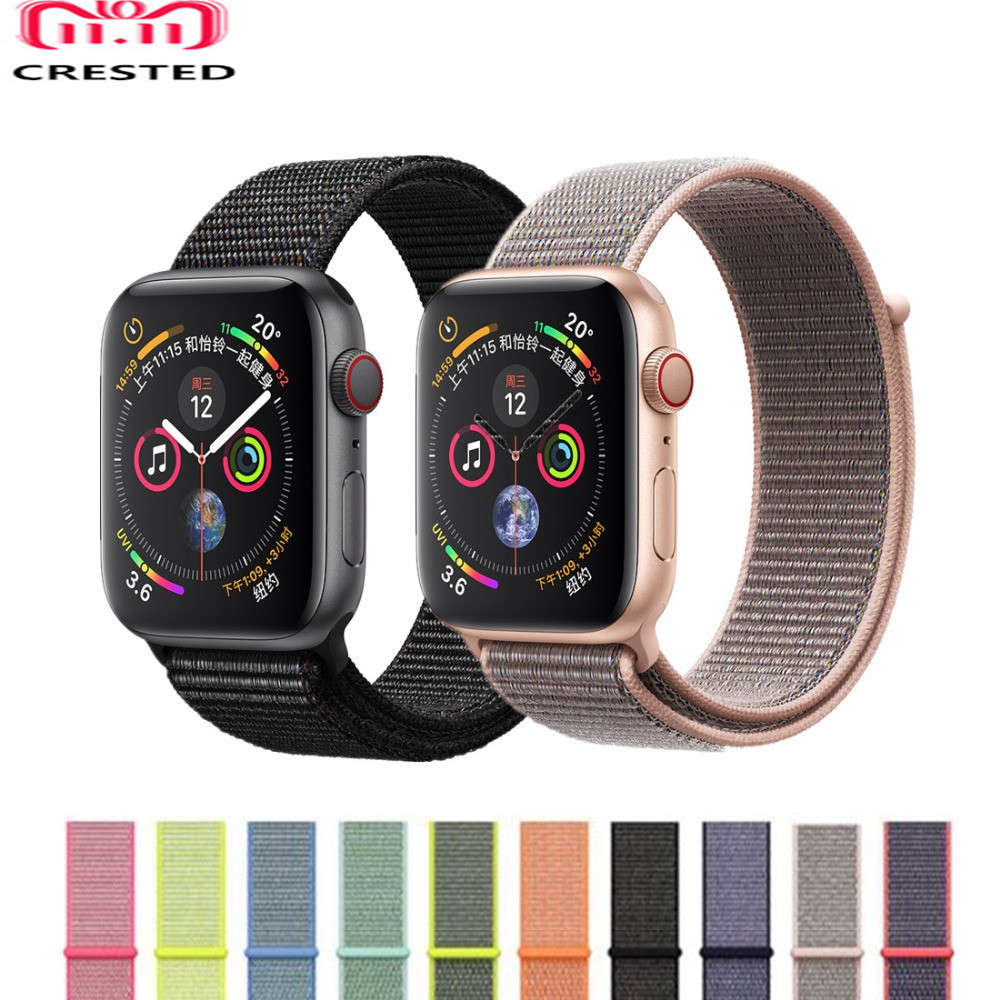 CRESTED Sport Loop band For Apple Watch 4 44mm 40mm Woven Nylon strap correa iwatch 3/2/1 42mm 38mm wrist bands bracelet belt eimo sport loop strap correa for apple watch band 42mm 44mm 40mm 38mm iwatch series 4 3 2 1 woven nylon bracelet wrist watchband
