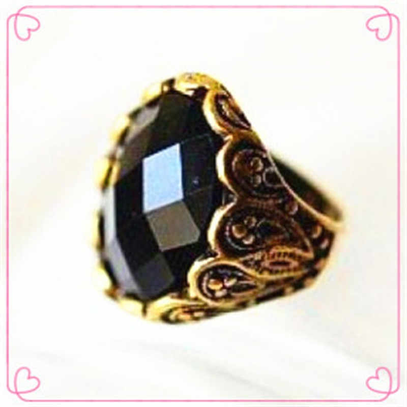 NJ44 Hot Sale Vintage Black Big Crystal Finger Rings Personality Fashion Carved Gem Rings Never Out of Date Wholesale