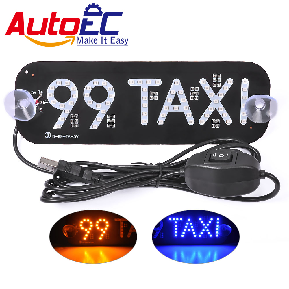 AutoEC 1x 99 Taxi light Led Car Windscreen Cab indicator Lamp taxi roof  signs yellow LED Windshield Taxi Light Dropshipping