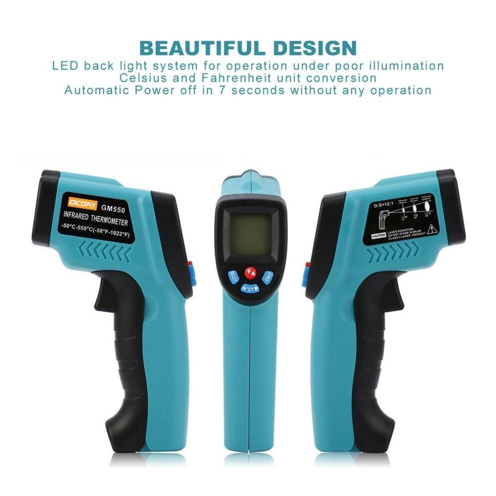 GM550 Digital infrared Thermometer Pyrometer Aquarium Laser Thermometer Gun Outdoor Thermometer Accurate Measurement