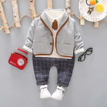 3 sztuk maluch Tie ubrania wizytowe zestaw dziecko strój chłopca garnitur wiosna jesień bawełna dziecięca odzież wierzchnia dzieci odzież garnitur strój 1 4Y