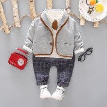 Ensemble de vêtements de soirée pour tout petits, 3 pièces, tenue de printemps automne en coton, vêtements dextérieur pour enfants, pour bébés de 1 à 4 ans