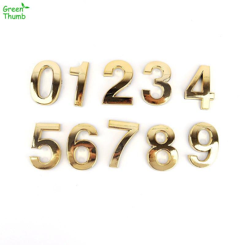 1 шт. номерные знаки пластины 0,1, 2,3, 4,5, 8,9, 6,7 современные золото может быть наклеен номер дома квартира/отель/автомобиль DIY Декор бляшек
