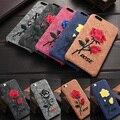 50 unids/lote nuevo para iphone 6 6 plus cubierta moda bordado rosa teléfono móvil case para iphone 6 proteger case