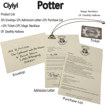 Get more info on the Harri Potter Hogwarts School Admission Notice Letter With Magic Deathly Hallows Necklace Figure Toy Children Halloween Gift Toy