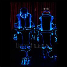TC-105 RGB colorful mens robot costumes led party wear Programmable Full color suit LED ballroom costumes stage dance led cloth