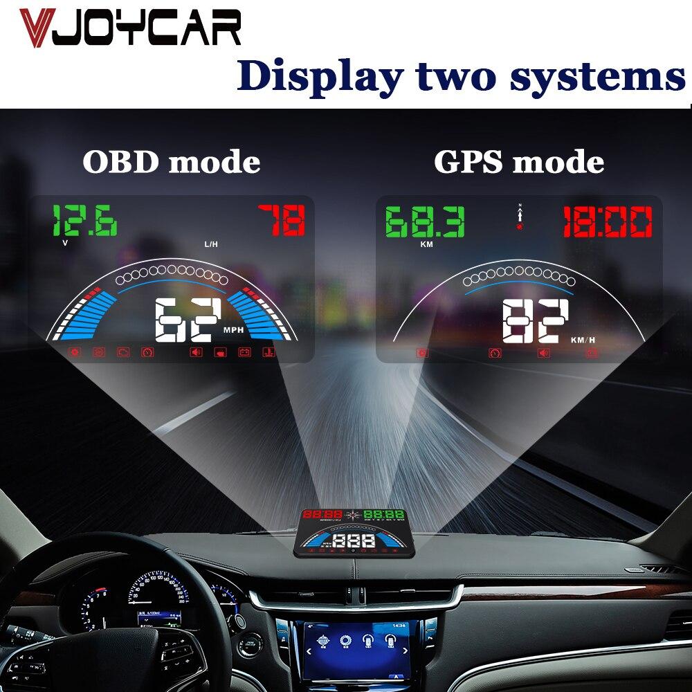 2 で 1 Hud OBD2 + GPS ヘッドアップディスプレイデジタルスピードメーター車速度プロジェクターデジタル診断ツールフロントガラス投影 huds