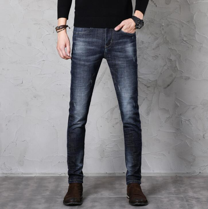 Novedad descuento Casual Slim Fit hombres Jeans moda Pantalones elásticos
