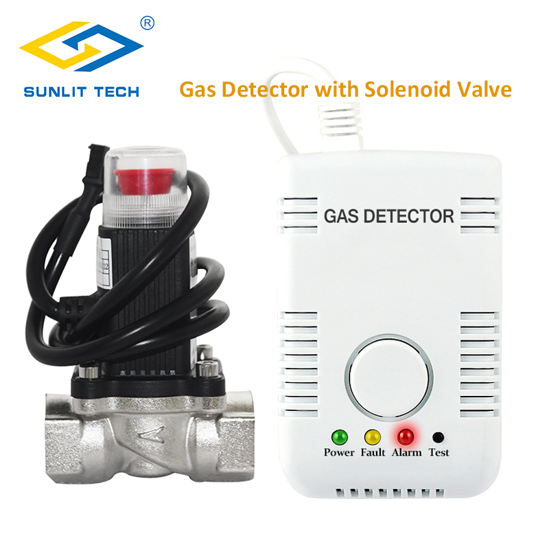 Natural Gas Leak Detector Combustible LPG Home Gas Leak Alarm Sensor System With Gas Shut Off Valve DN15 For House Security