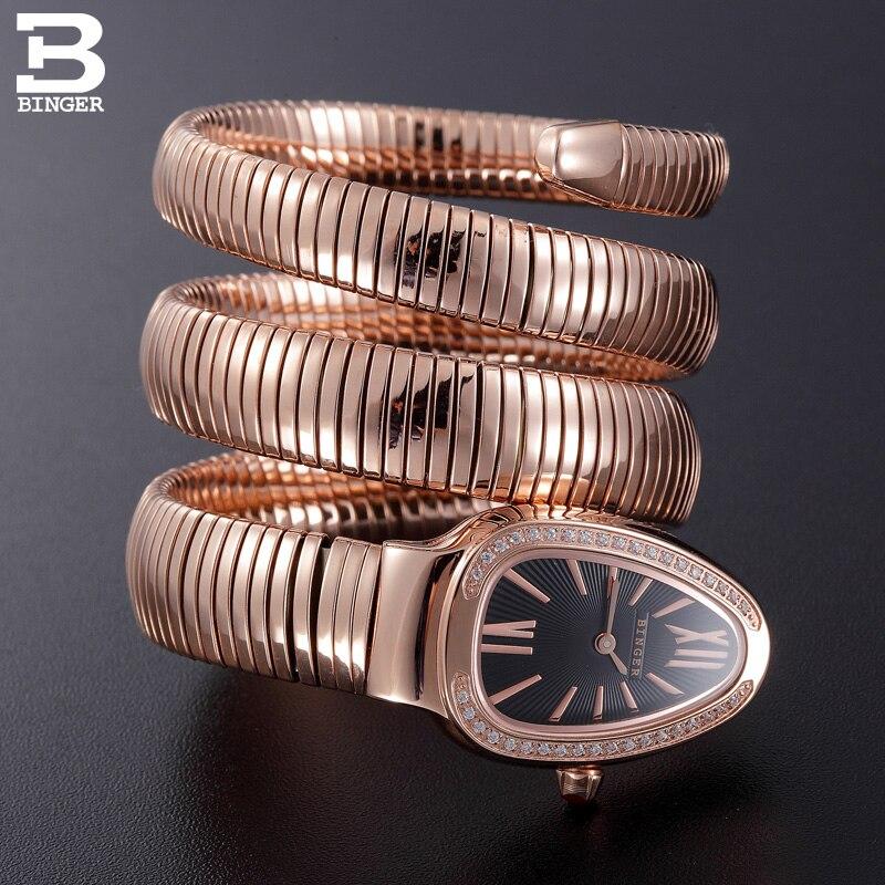 Швейцария Binger Для женщин часы Элитный бренд дамы кварцевые часы змея Форма Сапфир золотой Водонепроницаемый Наручные часы b6900-4