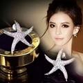 2016 Estrella de La Moda Estrellas de Mar Pendientes Grandes Con AAA + Cubic Zirconia del Oro Blanco Aretes de Joyería De Las Mujeres Boucle d'oreille WE019