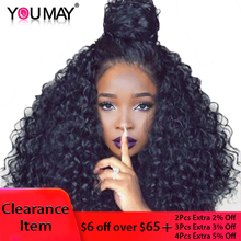 250 Density Brazilian Curly Human Hair Wigs Full Ends Lace Front Wigs For Women Natural Black